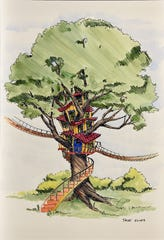 A rendering of a treehouse-style home planned to be built in Tom Boyd's Ancient Lore Village at Boyd Hollow.
