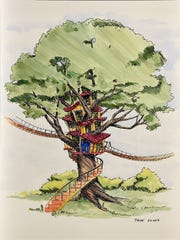 A rendering of a treehouse-model house planned to be in-built Tom Boyd's Ancient Lore Village at Boyd Gap.