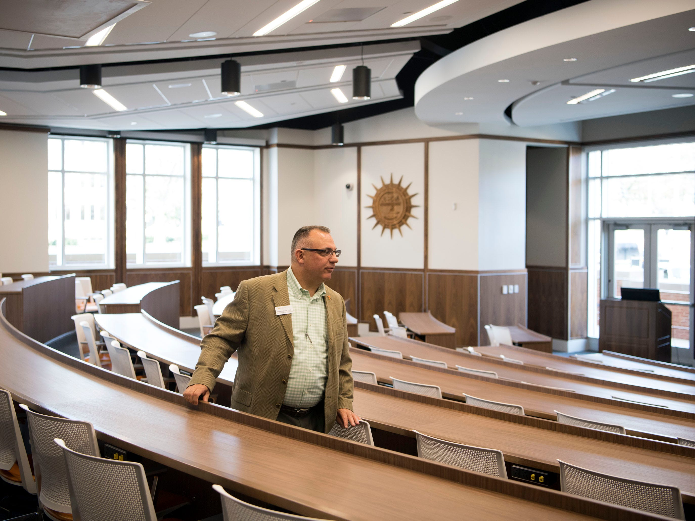 Vincent Carilli, PhD, University of Tennessee's Vice Chancellor for Student Life gives a tour of the tiered meeting room at the recently opened second phase of the Student Union on Monday, January 7, 2019.