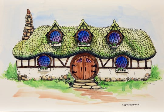 A rendering of a home that will be built in Tom Boyd's Ancient Lore Village at Boyd Hollow.