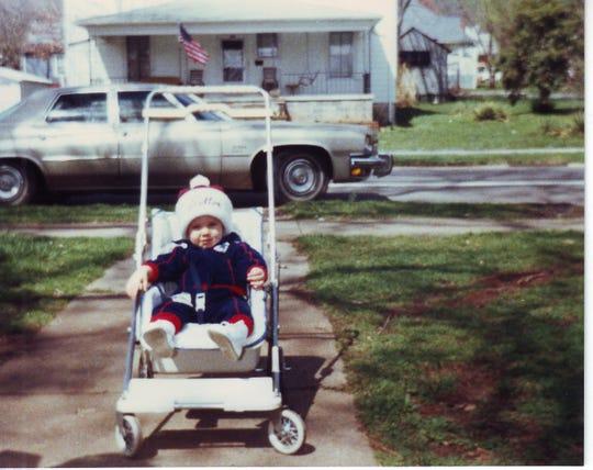 Brad Renfro wears his father's Fulton High School toboggan, circa 1983.