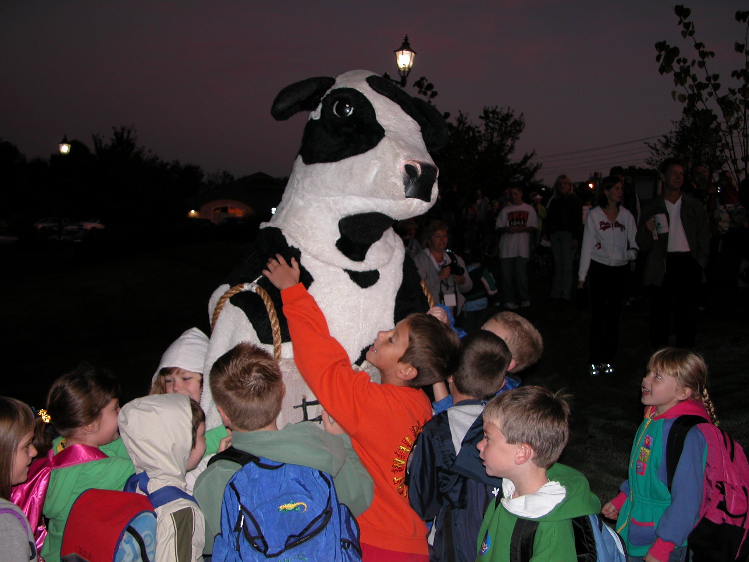 Farragut Primary students swarm around the Chick-Fil-A cow after stretching for the walk to school.