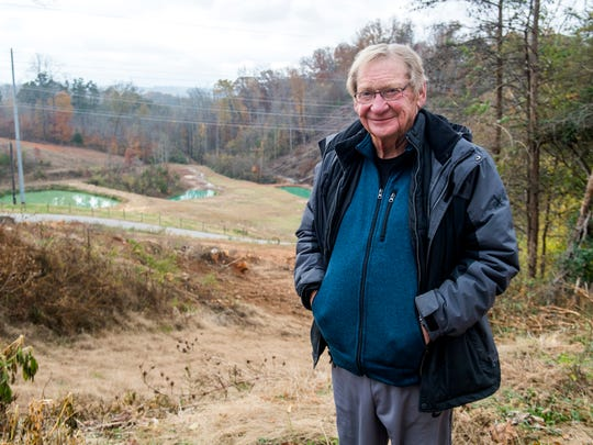Tom Boyd on his South Knoxville property on Wednesday, November 21, 2018. Boyd is planning on opening Ancient Lore Village at Boyd Hollow, a new 40-acre themed resort, on the property.