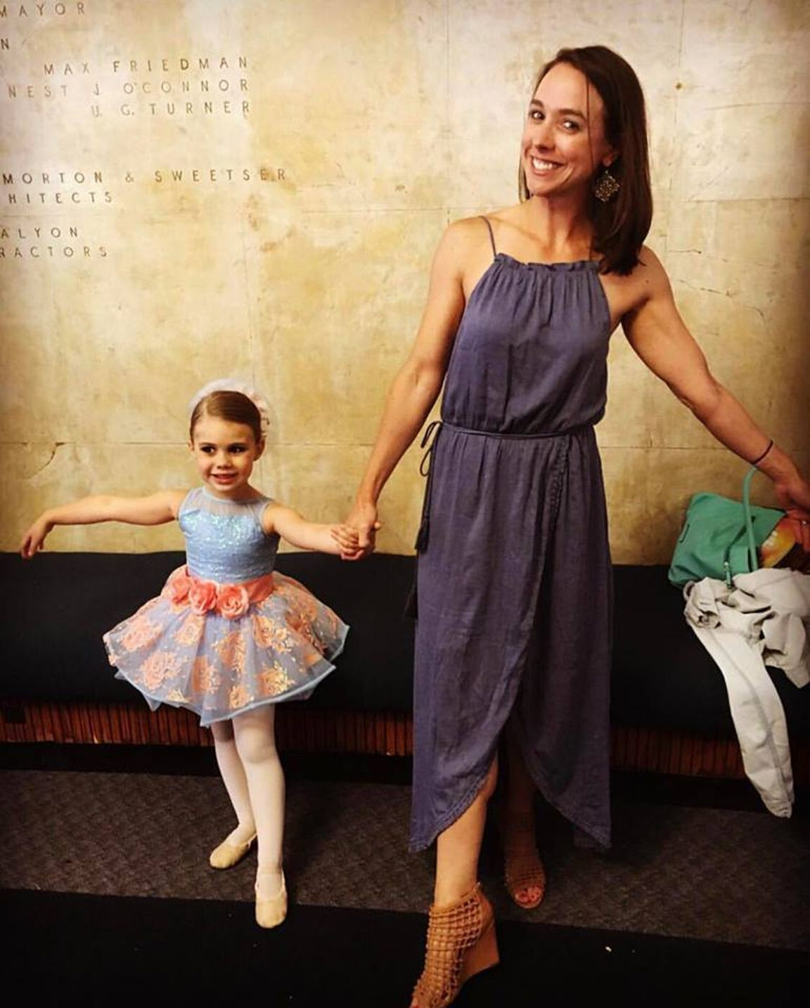 Jenna McCue (right) poses with her niece, Ayla Petrowski at Oak Ridge Academy of Dance. Jenna studied there as a child and Ayla has followed in her footsteps.