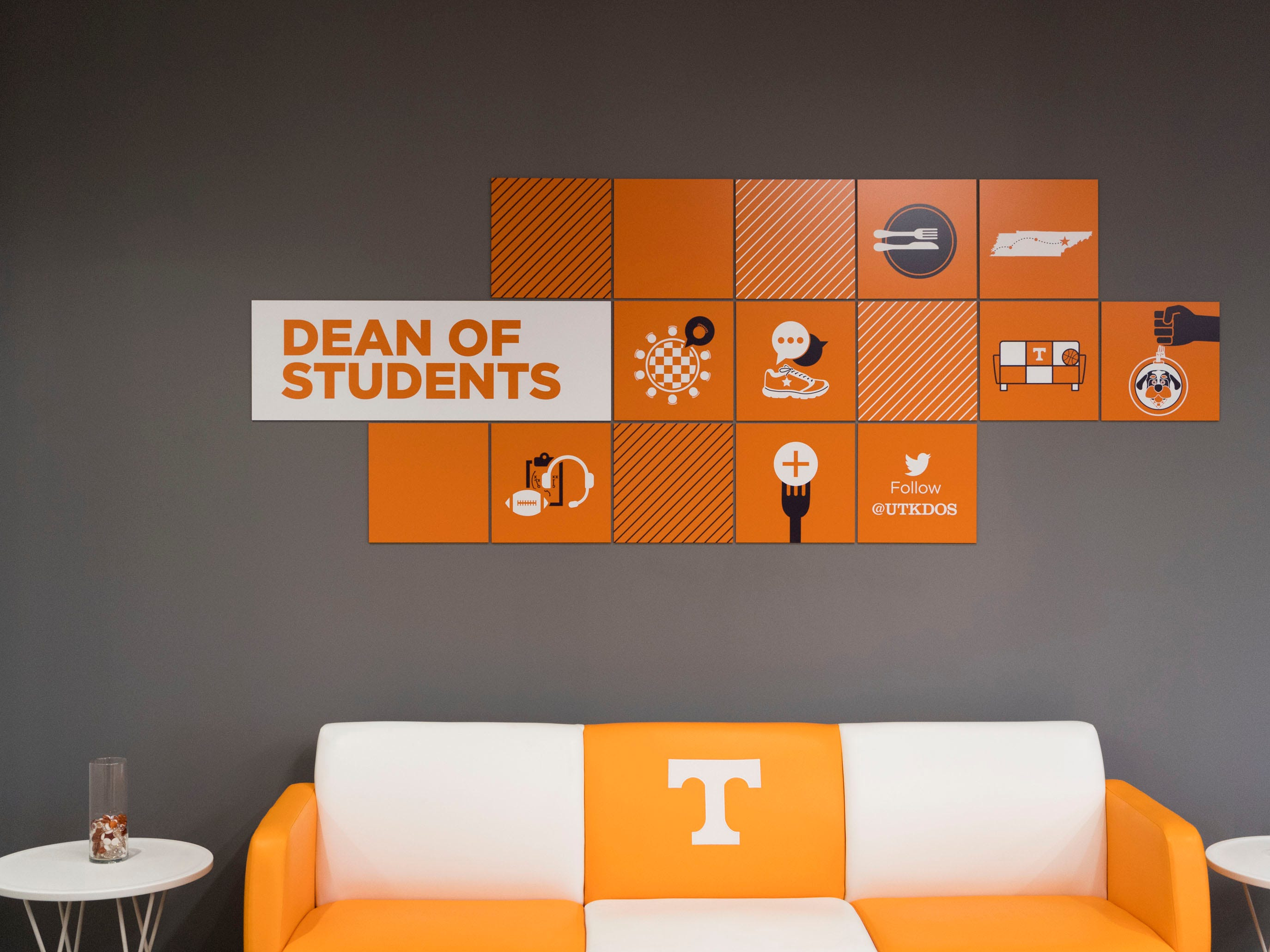 Smokey's Sofa inside the University of Tennessee's Dean of Students office at the Student Union on Monday, January 7, 2019.