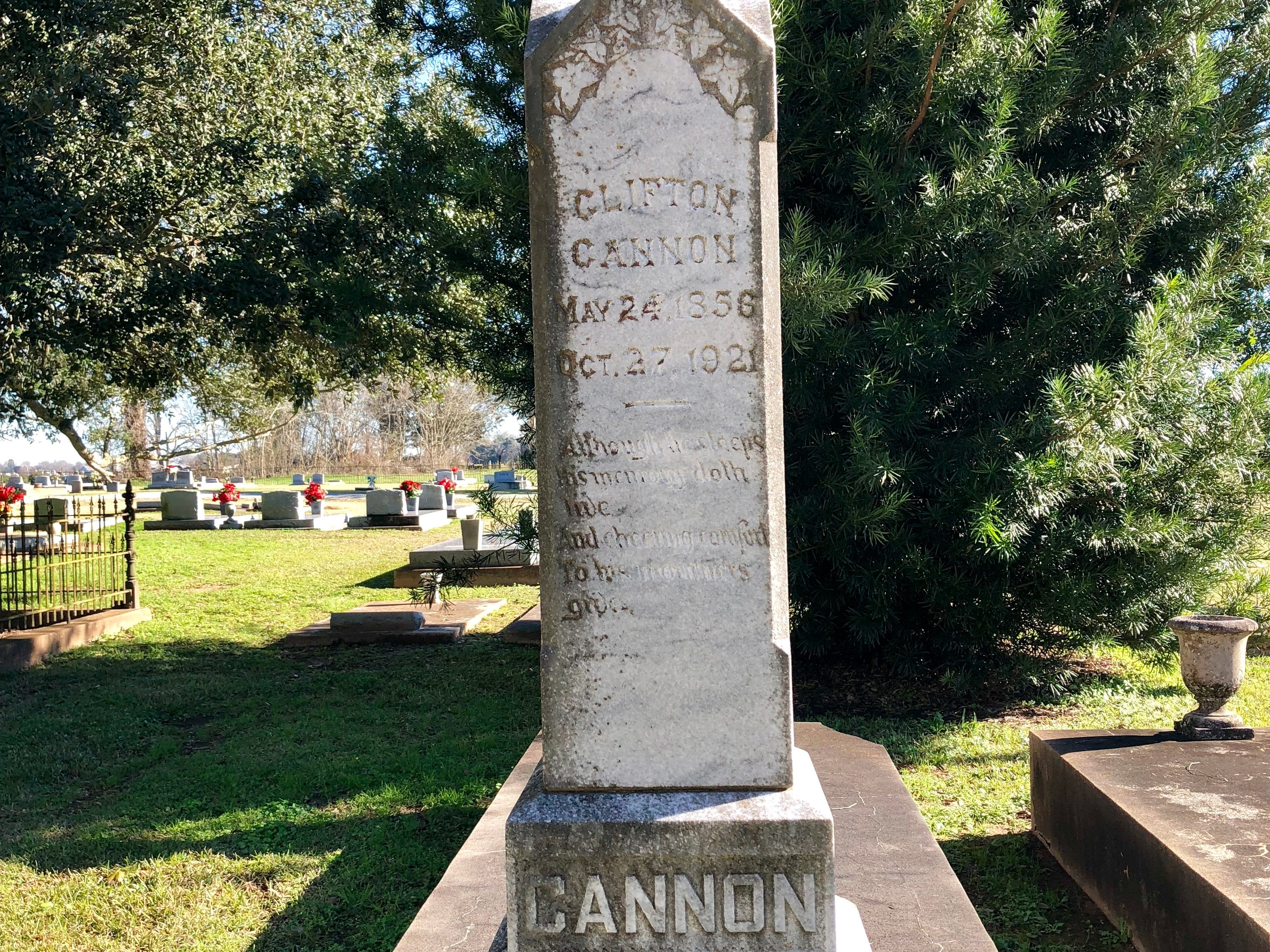 Historic graves like this one dating 1921 (and older) surround Trinity Episcopal Church in Cheneyville. The church built in 1860 is part of the Northup Trail, one of 18 Louisiana Byways designated by the state Office of Tourism.