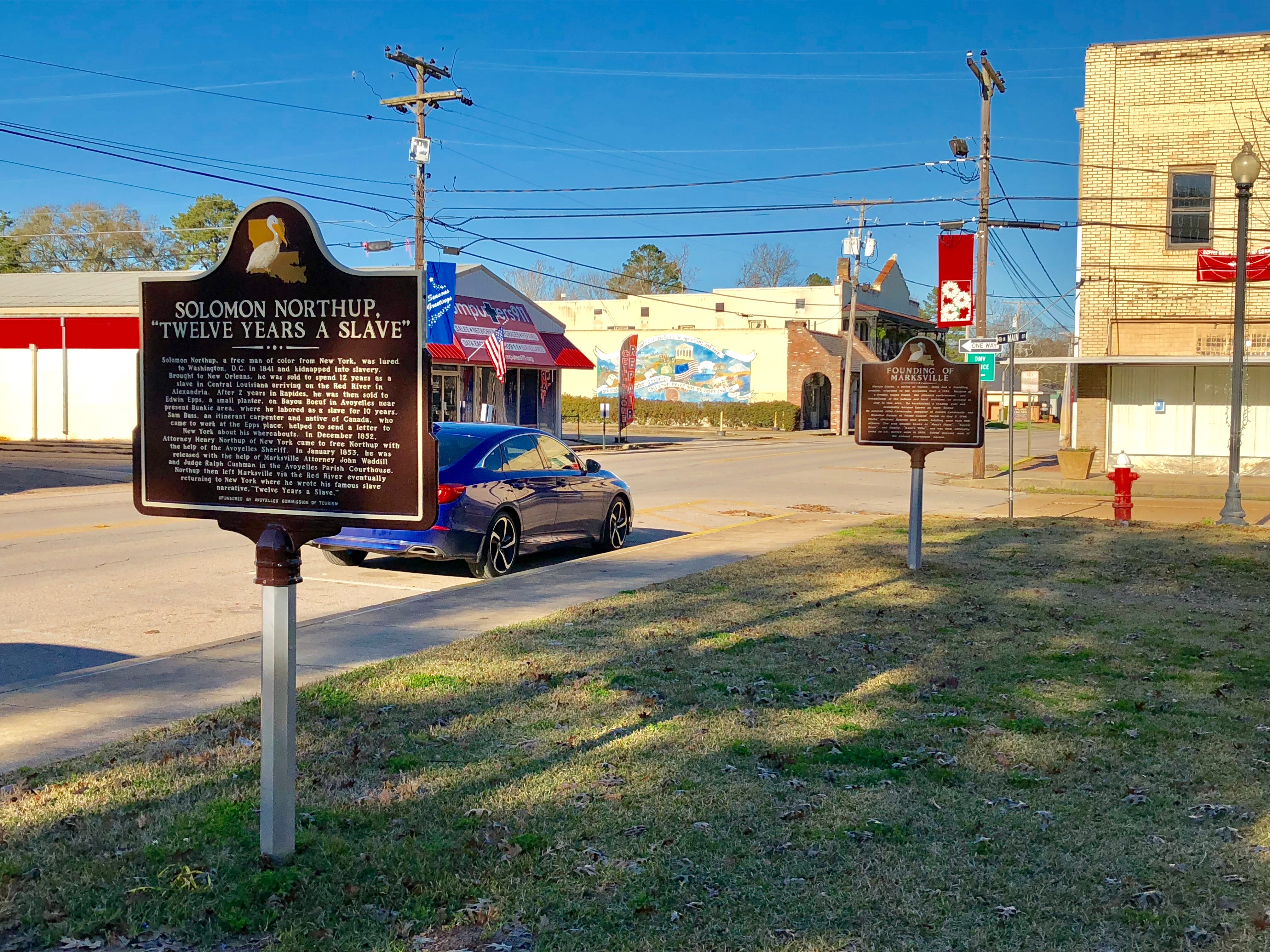 The Northup Trail ends at the historic courthouse in downtown Marksville. In the 1840s Solomun Northup was kidnapped as a free man black in New York and sold into slavery in Central Louisiana, where he lived for 12 years until he regained his freedom at this courthouse.