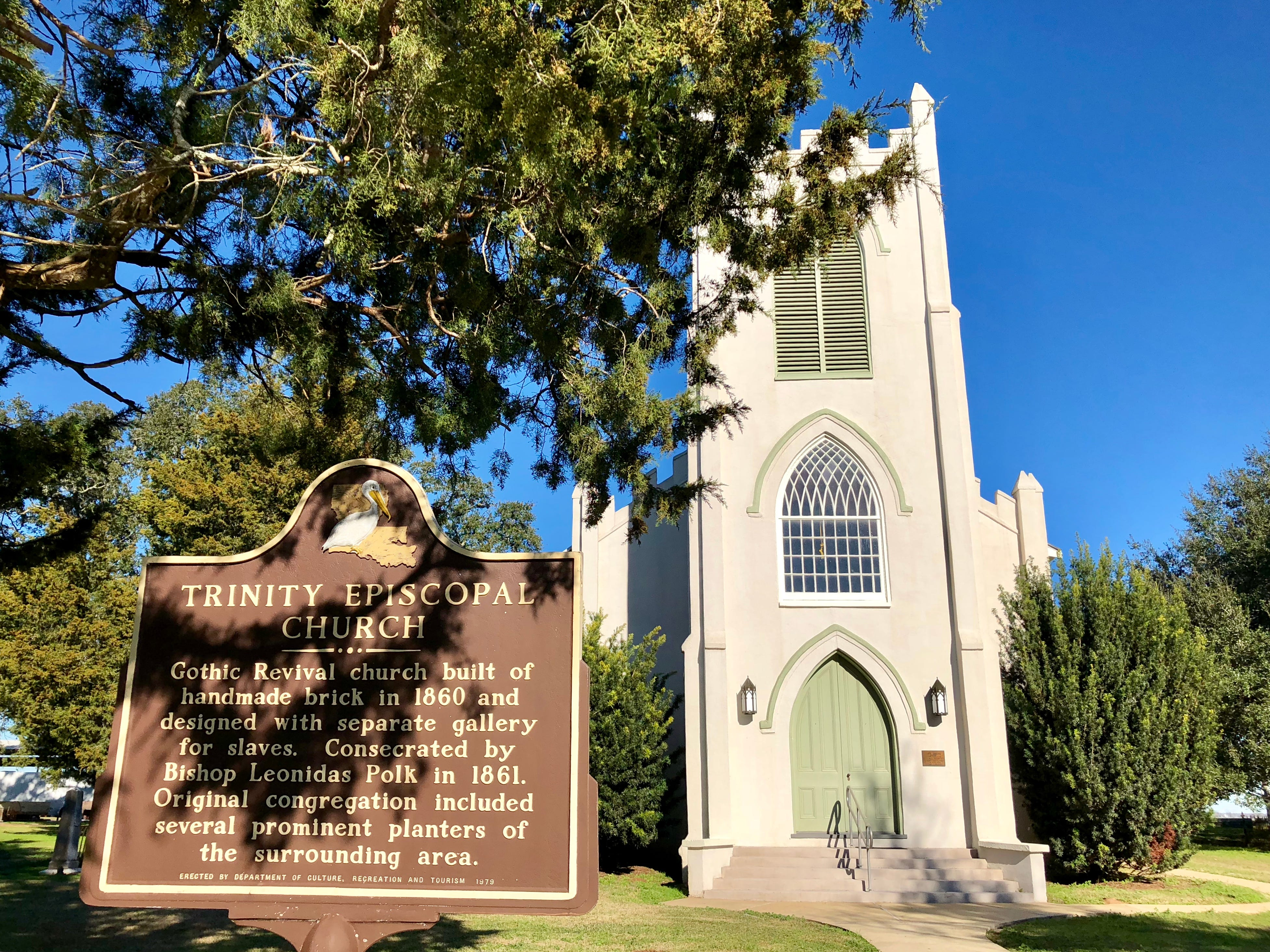 This Gothic Revival church built of handmade bricks in 1860 still stands in Cheneyville surrounded by historic graves. It is part of the Northup Trail, one of 18 Louisiana Byways designated by the state Office of Tourism.