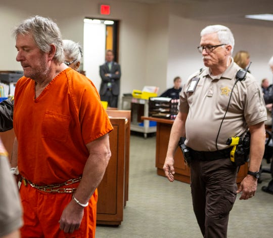 Roger Burdette leaves Judge Jessica Moore's courtroom following a preliminary hearing. Burdette is charged with murder in the death of LMPD detective Deidre Mengedoht. Jan. 7, 2019.
