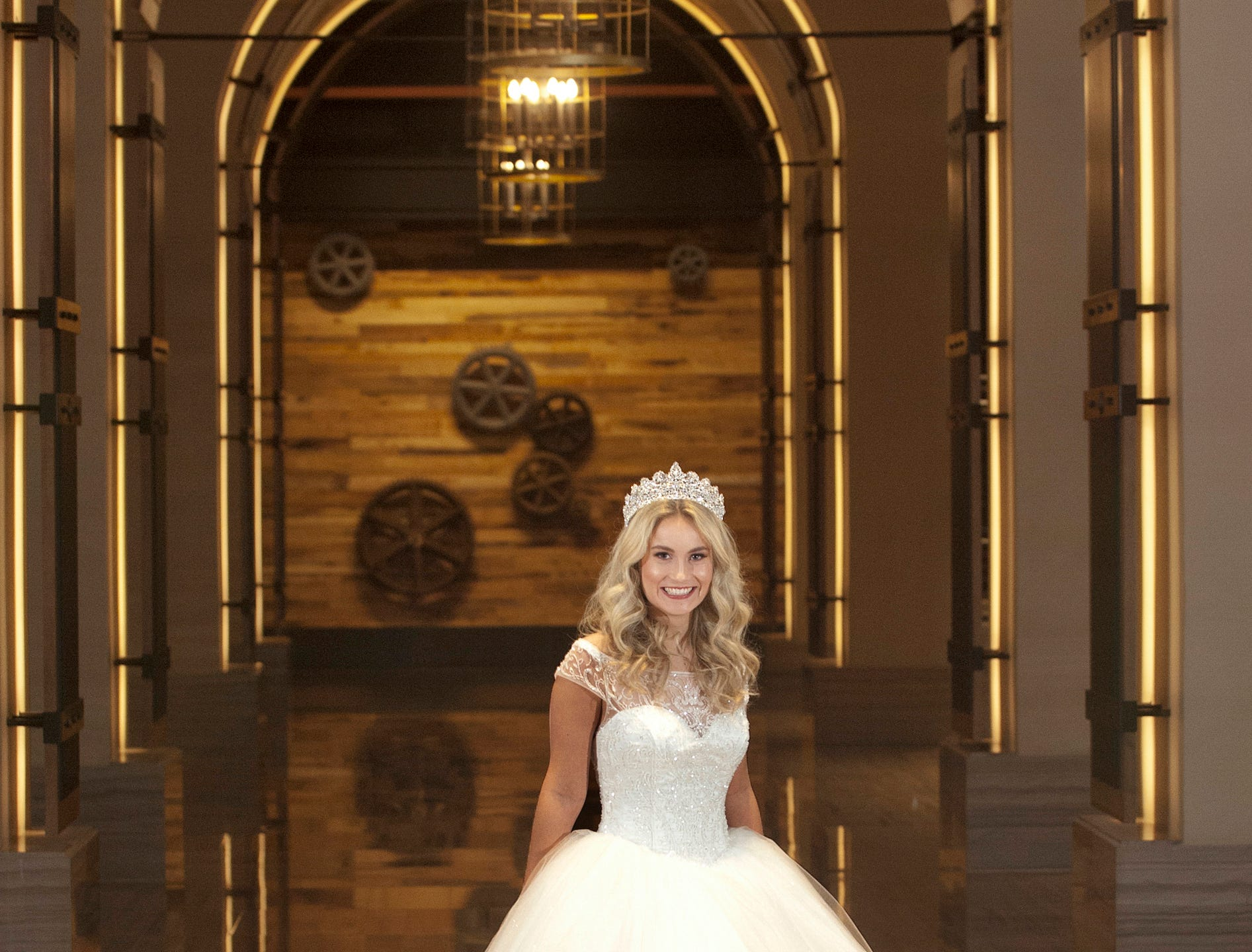 Kentucky Derby Festival Princess Allison Spears, 21, of Catlettsburg, Ky., is a junior at the University of Kentucky majoring in pre-law and neuroscience. She was posing in the arched hallway off the Omni Louisville Hotel lobby. 06 January 2019