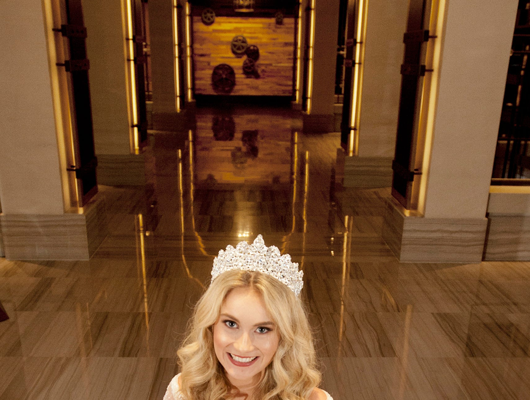 Kentucky Derby Festival Princess Allison Spears, 21, of Catlettsburg, Kentucky, is a junior at the University of Kentucky majoring in pre-law and neuroscience. She was posing in the arched hallway off the Omni Louisville Hotel lobby. 06 January 2019