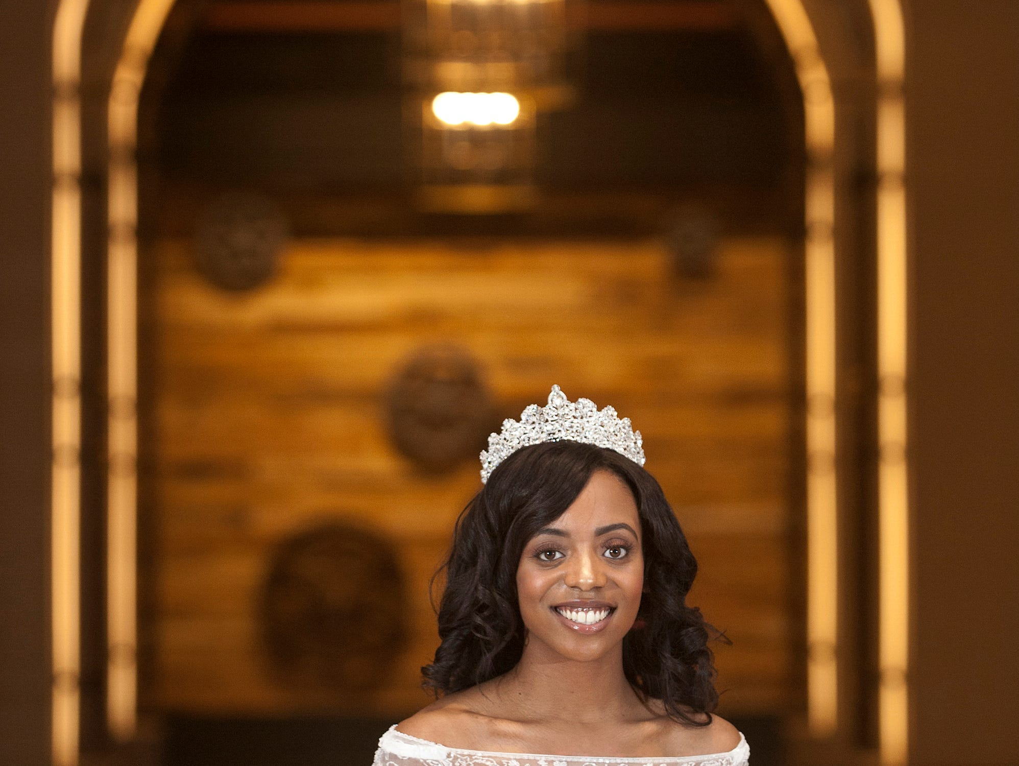 Kentucky Derby Festival Princess Brittany Patillo, 22, from the west end of Louisville, is a University of Louisville senior majoring in theater arts. She was posing in the arched hallway off the Omni Louisville Hotel lobby. 06 January 2019
