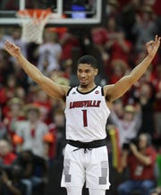 Louisville guard Christen Cunningham celebrates after knocking down a 3-pointer in a game earlier this season.