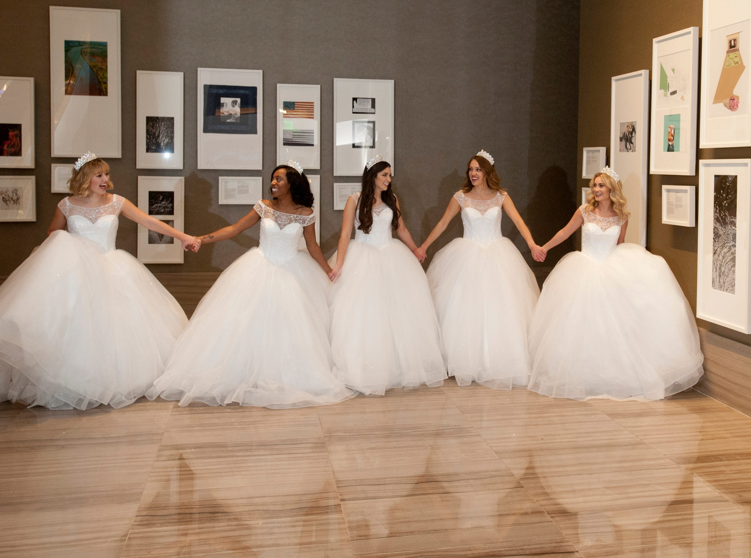 The Kentucky Derby Festival princesses walk together through the Omni Louisville Hotel. L-R: Kelsey Sutton, Brittany Patillo, Mary Baker, Elizabeth Seewer and Allison Spears. 06 January 2019