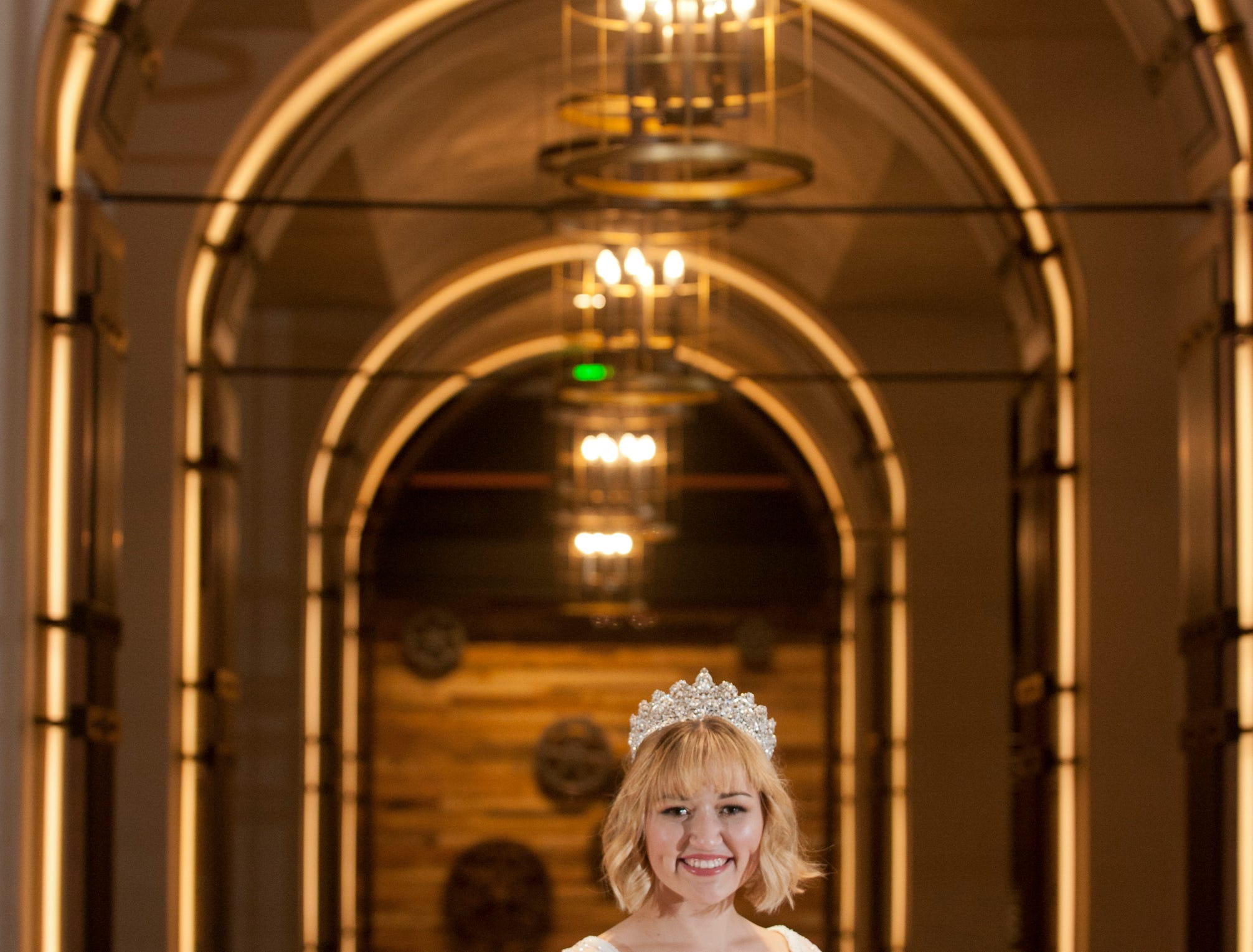 Kentucky Derby Festival Princess Kelsey Sutton, 22, of Brandenburg, Kentucky, is a Centre College senior majoring in mathematics and minoring in education. She posed in the lobby of the Omni Louisville Hotel. 06 January 2019