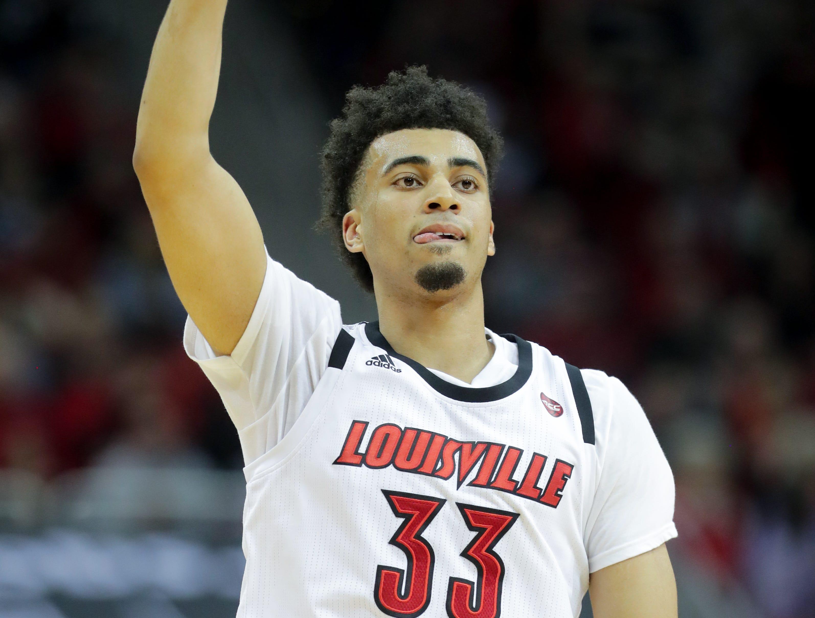 Louisville's Jordan Nwora celebrates after a monster dunk against Miami. Jan. 6, 2018