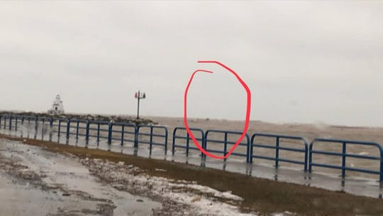 Powerful waves took out the South Pier Light Navigational Beacon on Lake Michigan near theManitowoc lighthouse Jan. 7.