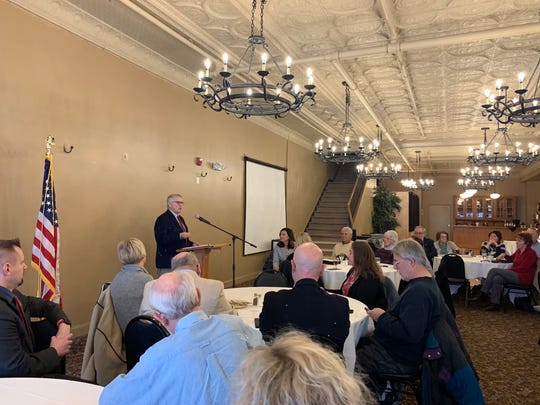 Mansfield Mayor Tim Theaker announces his bid for a third and final term at the Richland County Republican Party's luncheon Monday, January 7, 2019.