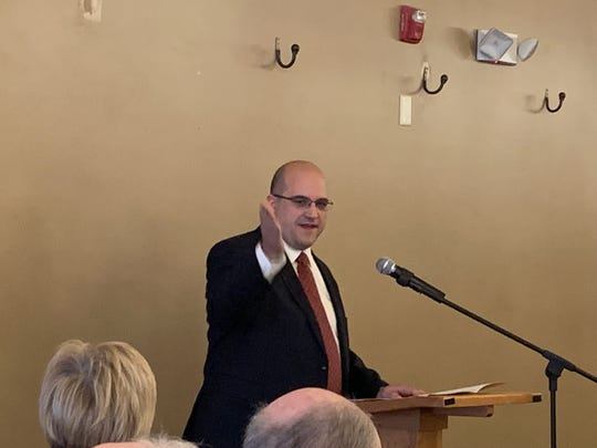 Jason Crundwell, candidate for Mansfield City Council's second ward, speaks at Richland County Republican party's luncheon january 7, 2019.