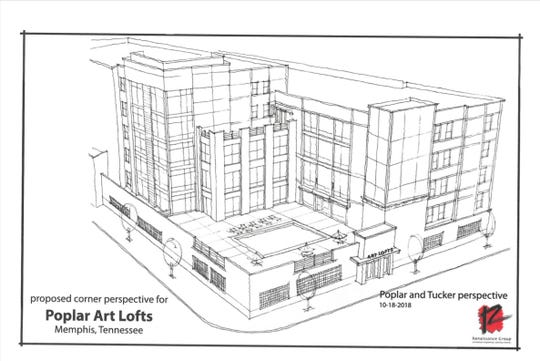 Rendering of Poplar Art Lofts, the  apartment development planned for Poplar Avenue between Tucker and Rembert.
