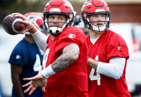 Memphis Express quarterback Zach Mettenberger (left) and Christian Hackenberg (right) during training camp in San Antonio, Texas.