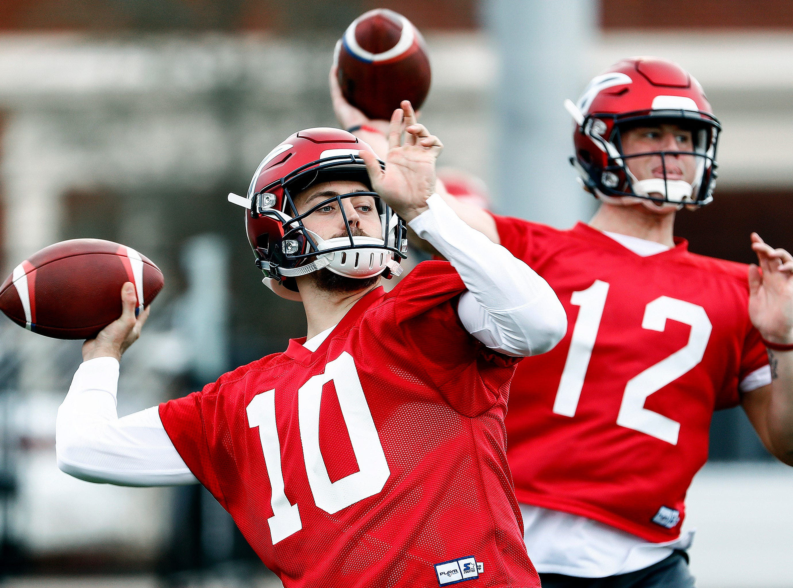 Memphis Express quarterbacks Troy Cook (left) and Brandon Silvers (right)  during training camp in San Antonio, Texas.