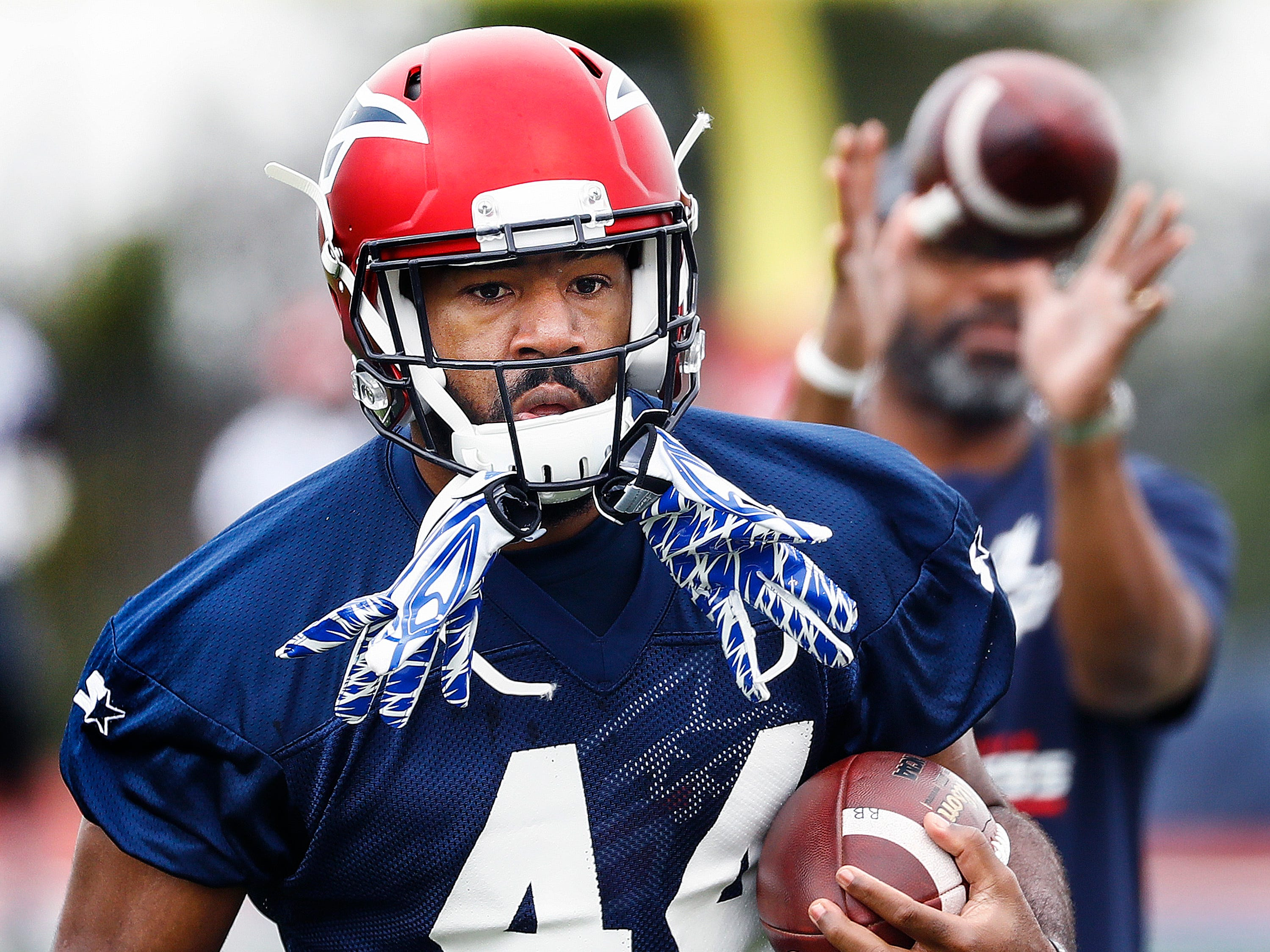 Memphis Express running back Kenny Hilliard during training camp in San Antonio, Texas.