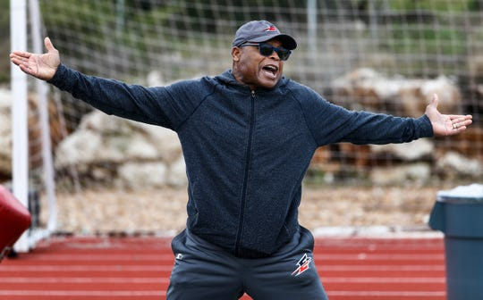 Memphis Express head coach Mike Singletary during training camp in San Antonio, Texas.