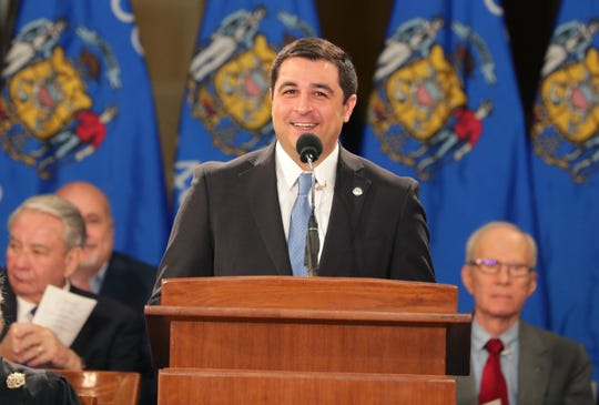 State Attorney General Josh Kaul speaks during the inauguration for the state's constitutional officers at the Capitol in Madison, Wis.