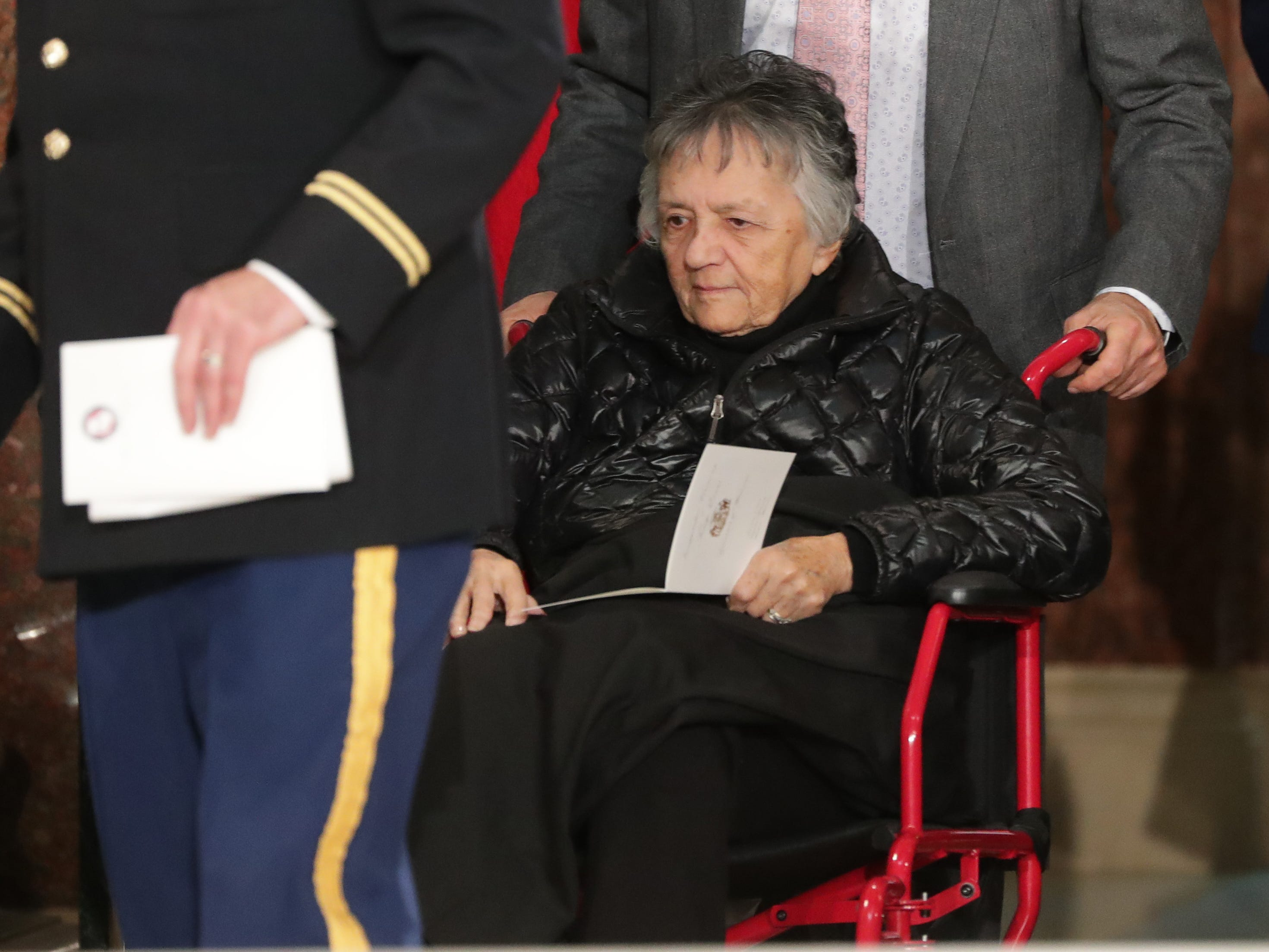 Associate Justice of the Wisconsin Supreme Court Shirley Abrahamson is shown before the inauguration for the state's constitutional officers at the Capitol in Madison, Wis.