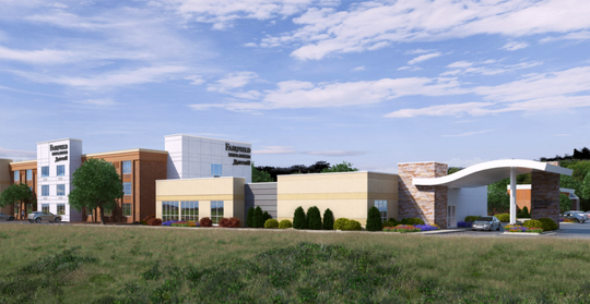 This rendering shows what the remodeled Fairfield Inn will look like from I-43. The hotel is expected to open in March.
