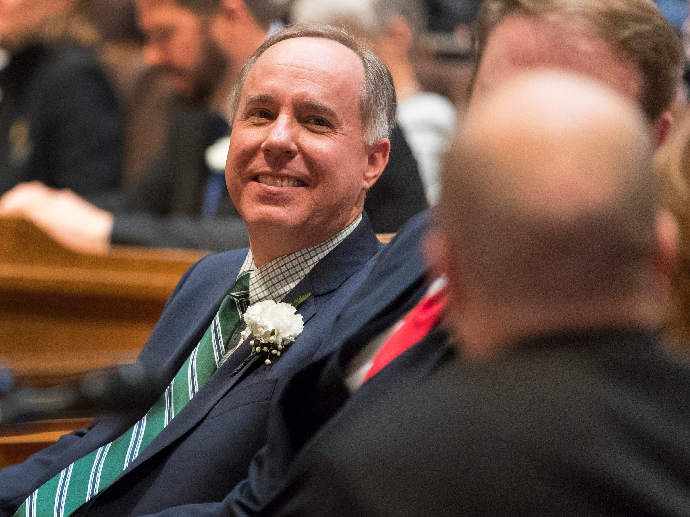 Assembly Speaker Robin Vos is shown during the swearing-in ceremony for Assembly members at the Capitol in Madison, Wis.