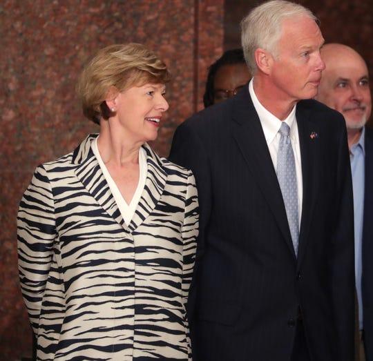 U.S. Sen Tammy Baldwin, left, and Sen. Ron Johnson, center, and U.S. Rep. Mark Pocan, right.