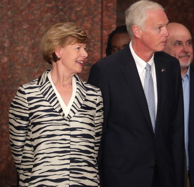 U.S. Sen Tammy Baldwin, left, and Sen. Ron Johnson, center, and U.S. Rep. Mark Pocan, right.