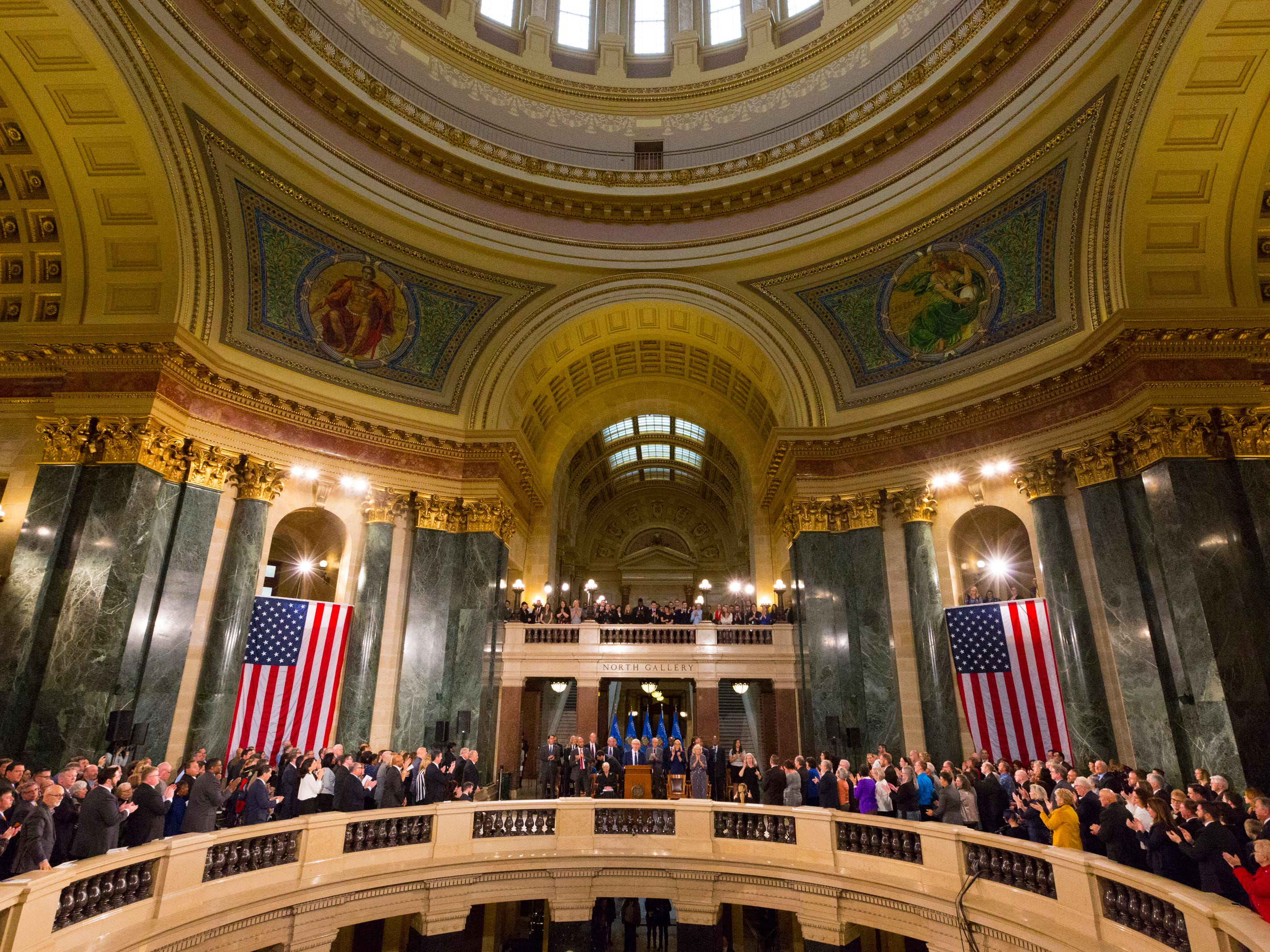 Gov. Tony Evers delivers his inaugural address at the Capitol in Madison, Wis.
