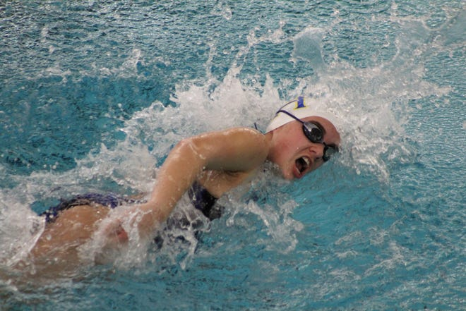 Mountain Home's Olivia Wham competes in a freestyle event on Saturday at Little Rock.