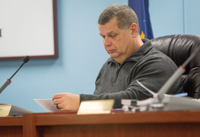 James King, Delaware County Commissioner, sits at the bench of the court room during the monthly meeting of the commissioners.
