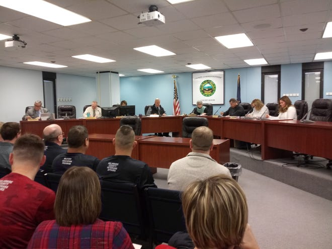 Members of the public attend the Delaware County Commissioners meeting on Jan. 7 at the county government complex.