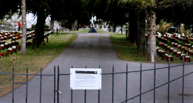 The gates of the cemetery at Stones River National Battlefield are still closed Thursday after the government shutdown that began Dec. 22.