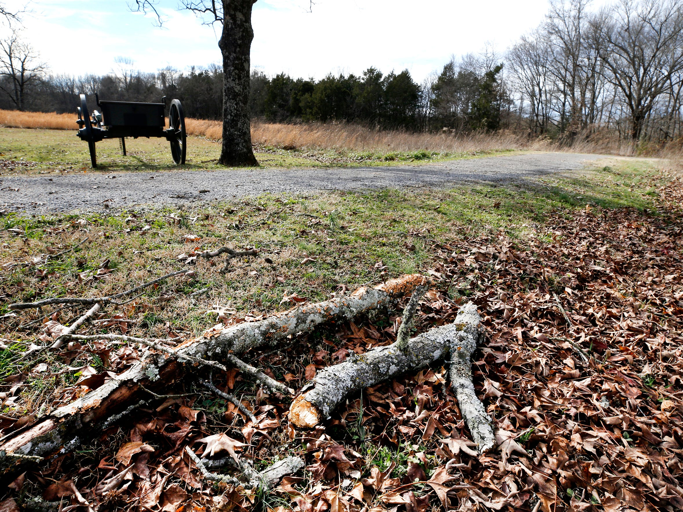Branches are scattered along the ground  at The Stones River National Battlefield, which is still closed on Thursday Jan. 7, 2019, after the government shutdown on Dec. 22, 2018.