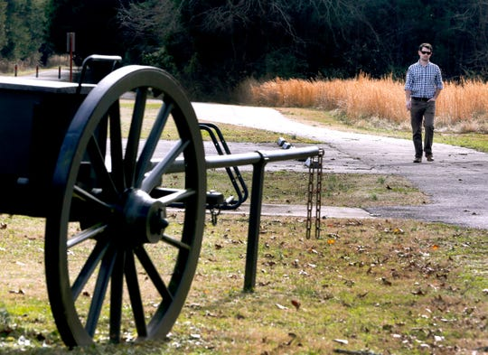 Mel Haas walks in The Stones River National Battlefield despite it being closed on Jan. 7 after the government shutdown on Dec. 22, 2018.
