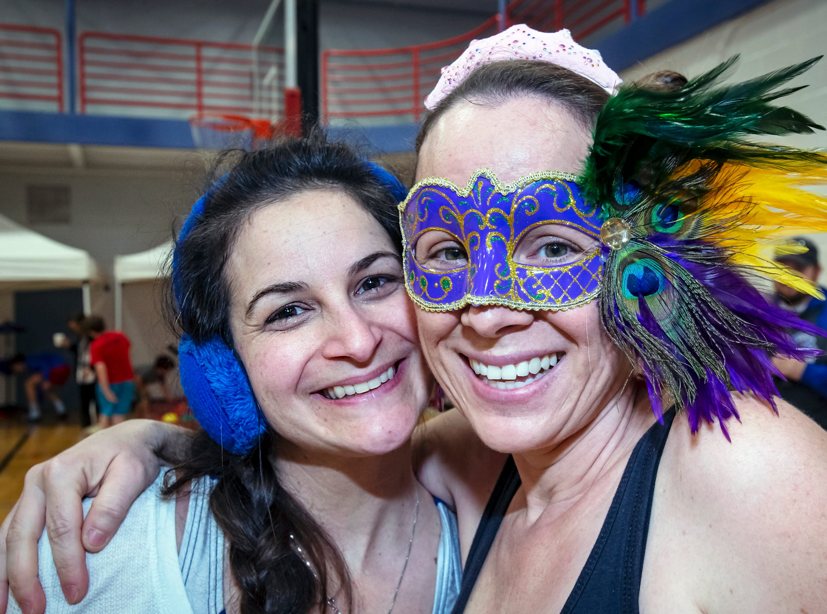 Christa Bradford and Trish Mathisen came dressed for the 17th annual Polar Bear Plunge held at SportsCom on Saturday, Jan. 5.