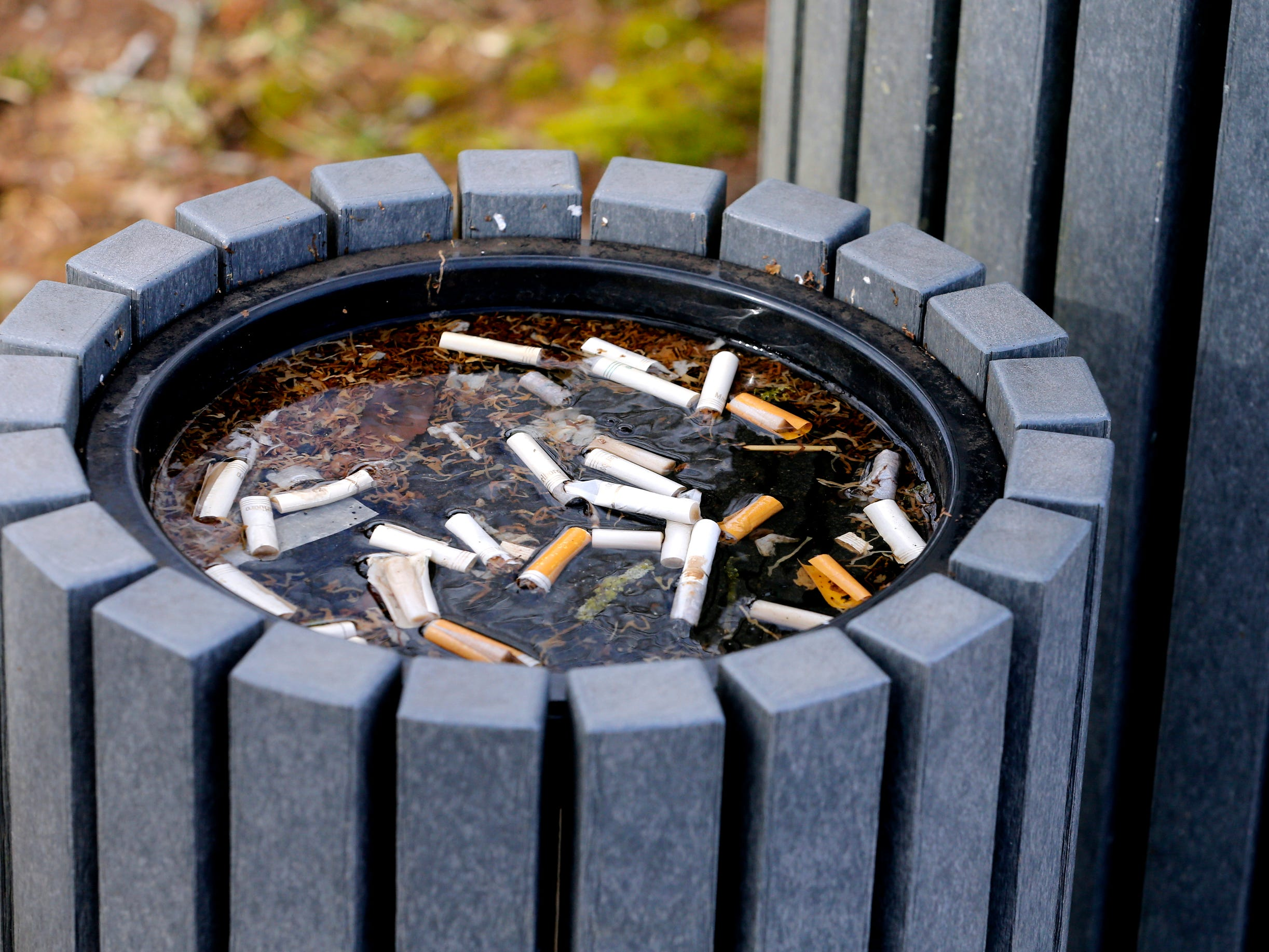 An ashtray at The Stones River National Battlefield is unattended on Thursday Jan. 7, 2019, since the government shutdown that started Dec. 22, 2018.