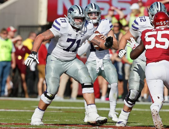Kansas State offensive lineman Dalton Risner (71) during an NCAA college football game between Kansas State and Oklahoma in Norman, Okla., Saturday, Oct. 27, 2018.