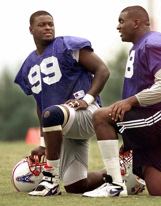 1997: Kenny Holmes (No. 18 overall) Defensive End, Miami (Fla.)  Holmes was selected to the Tennessee Oilers in the first season of transition from Houston to Nashville and made an immediate impact with seven sacks in his rookie as a rotational lineman. Holmes played four solid seasons in Tennessee before moving on to the New York Giants.
