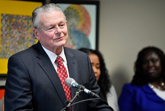 Attorney Charles Bone speaks at a press conference Monday, Jan. 7, 2019, in Nashville, Tenn., after Gov. Bill Haslam granted full clemency to Cyntoia Brown, and set an Aug. 7 release from prison.
