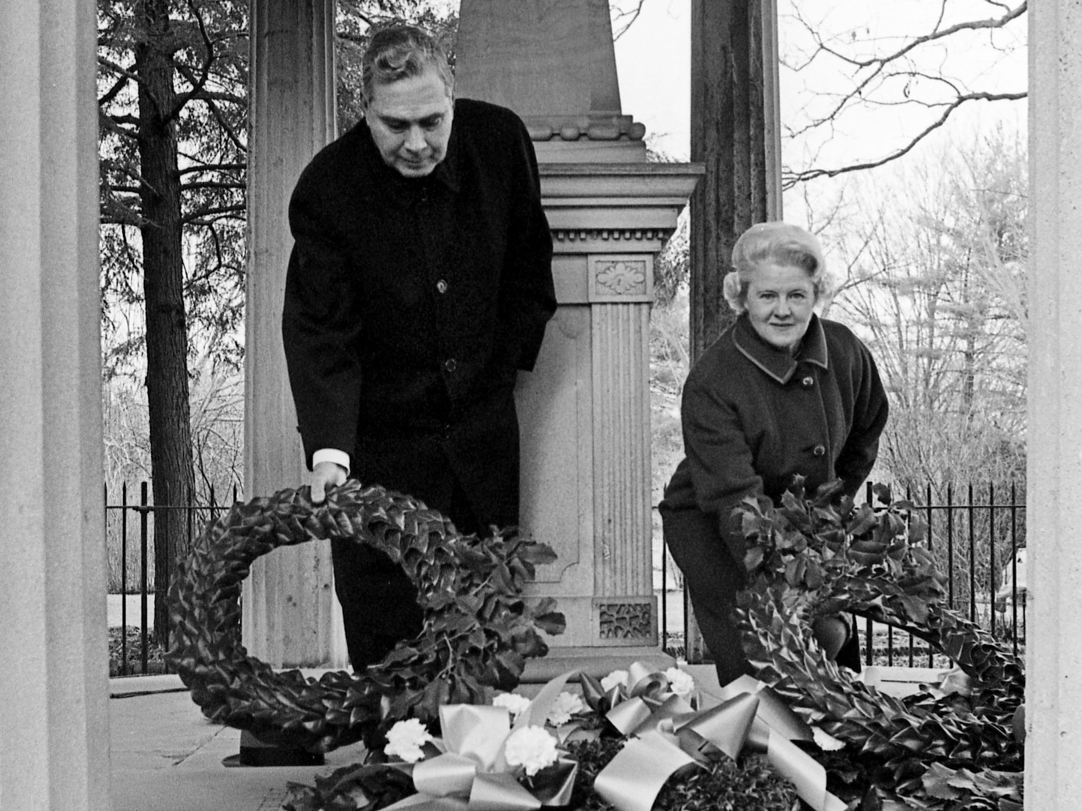 William Waller, left, a member of The Hermitage board of trustees, and Mrs. Horatio B. Buntin, regent of the Ladies Hermitage Association, place wreaths at the graves of President Andrew Jackson and his wife, Rachel, during ceremonies Jan. 8, 1969, commemorating the 154th anniversary of the Battle of New Orleans.