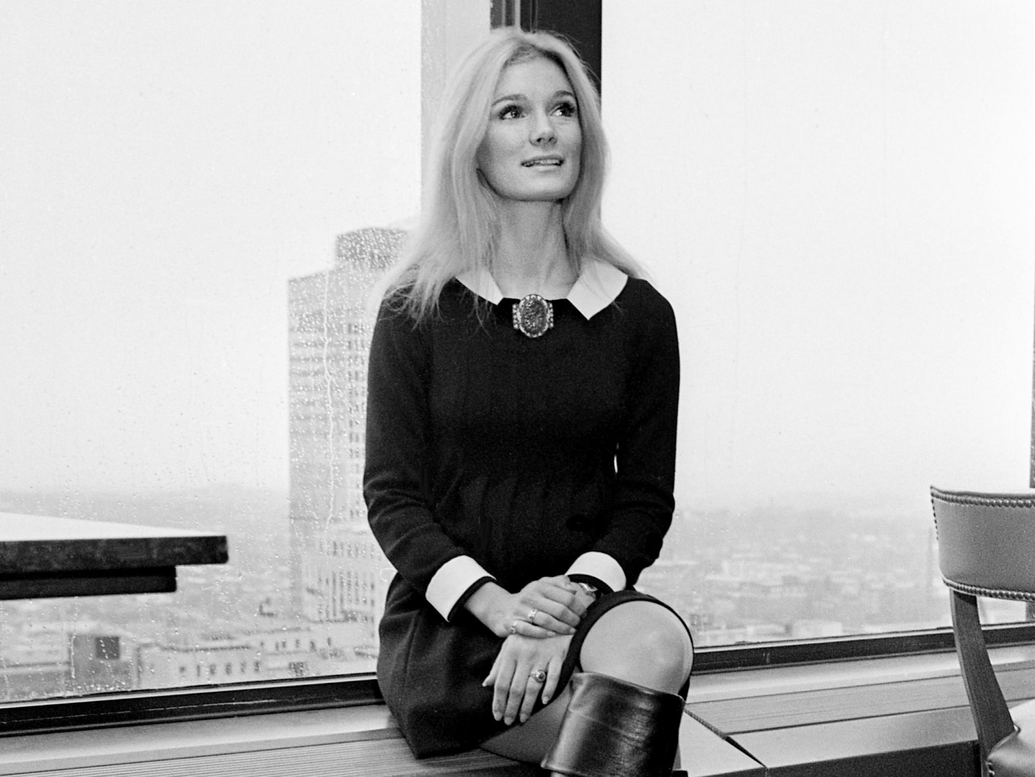 "Actress Yvette Mimieux waits for the start of the Nashville City Club press luncheon Jan. 30, 1969. She is in town to promote her new movie, ""Three in the Attic,"" and to talk with Mary Reeves, president of Jim Reeves Enterprises, about making her singing debut on a country-rock record."