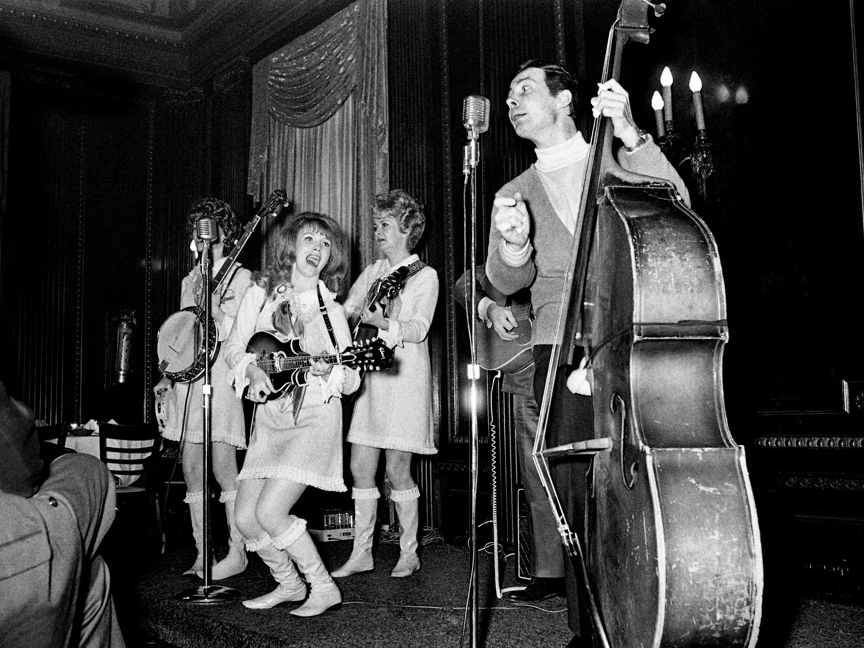 The Stonemans, Roni, left, Donna, Patsy, Van and Jimmy, perform for Tennessee Press Association members during a luncheon given by The Tennessean at the Hermitage Hotel on Jan. 17, 1969.