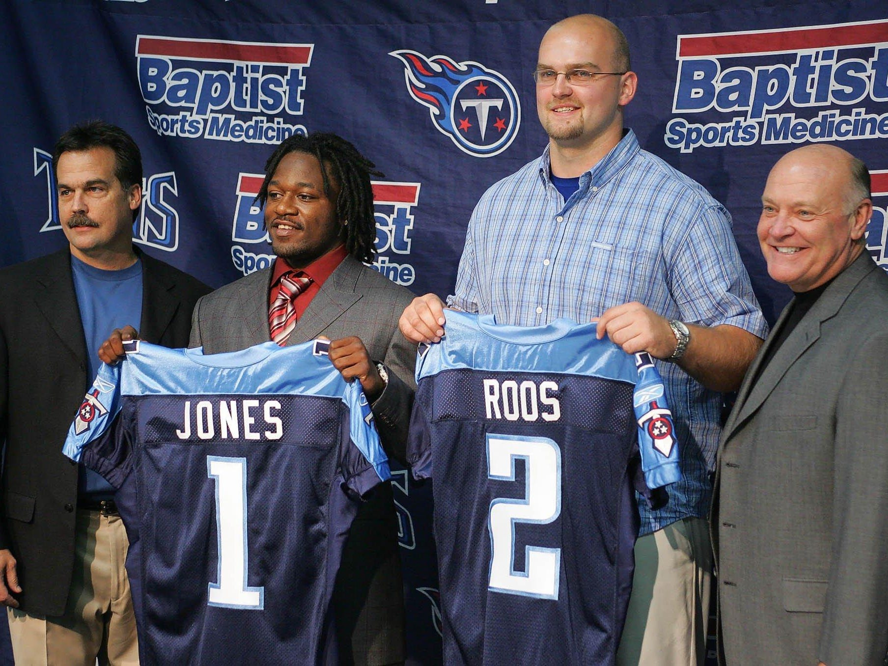"""2005: Adam Jones (No. 6 overall) Defensive Back, West Virginia  A solid rookie season, a good second season, and a year-long suspension marked the three years of """"Pacman"""" in Nashville. Jones had four punt-return TDs in two seasons and just started to bloom as a corner when he was suspended for the 2007 season. By 2008, he was in Dallas."""